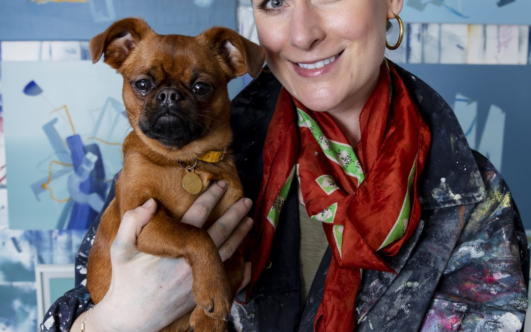 brussels griffon dog with artist Aisling Drennan in her studio contemporary painter, art studio, abstract painter, female abstract painter, contemporary art