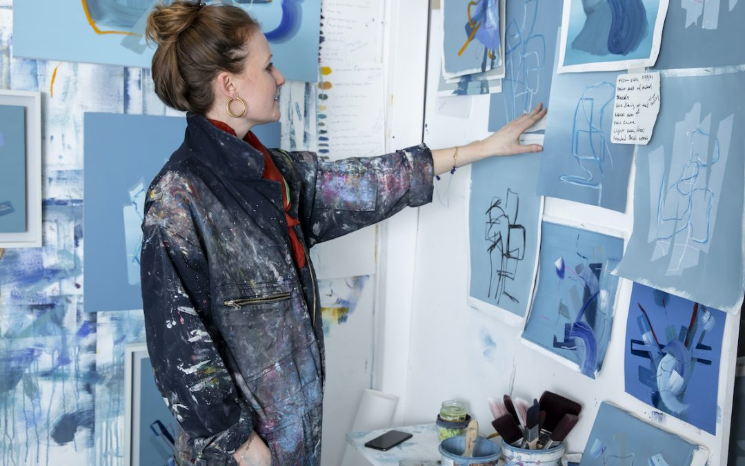 abstract painter aisling drennan in her painting overalls at delta house studios in south west london. She is looking at blue abstract paintings. Abstract artists uk Abstract artists ireland Abstract artists modern Abstract artists contemporary Abstract artists on instagram, Modern art Modern wall art Modern abstract artists Best abstract artists Modern abstract art Modern abstract artists Modern abstract art oil painting Modern abstract art painting Modern abstract wall art Best contemporary abstract artists Best contemporary abstract painters Best, modern abstract painters, Female abstract artists Irish artist ,Irish female artist, Irish abstract artist, Irish abstract art, Irish abstract painters